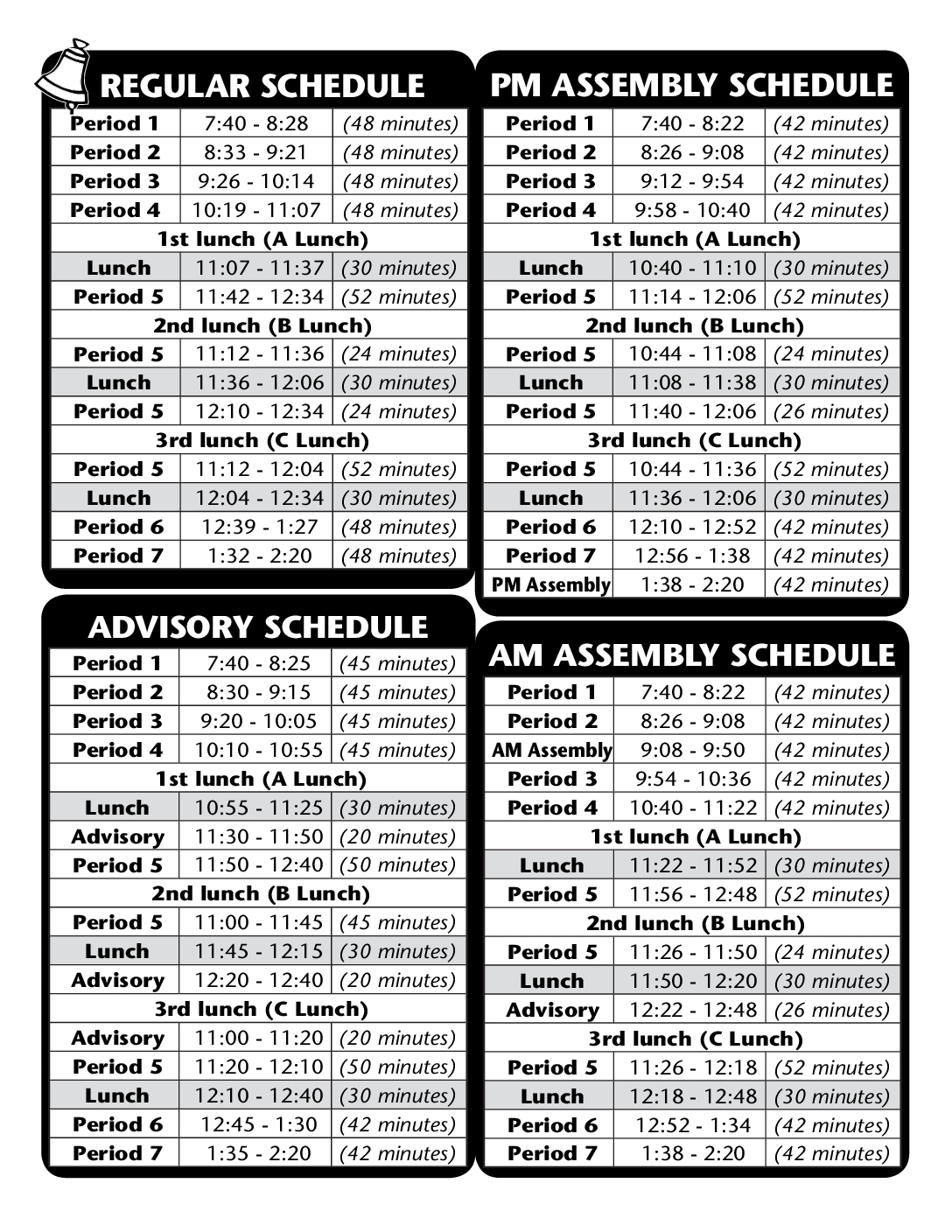 Waldo Bell Schedules: Regular, PM Assembly, Advisory, and AM Assembly
