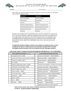 PDF form for 2018-2019 electives for 8th grade in spanish