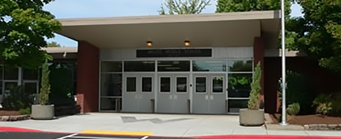 Front entrance of Waldo Middle School